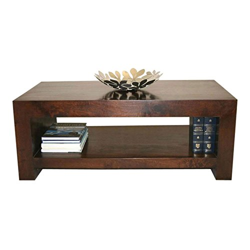 Homescapes Dakota Darkwood Rectangular Coffee Table With Storage Shelf,  100% Solid Mango Hardwood Furniture For Living Room   (No Veneer) Hand  Crafted Part 97