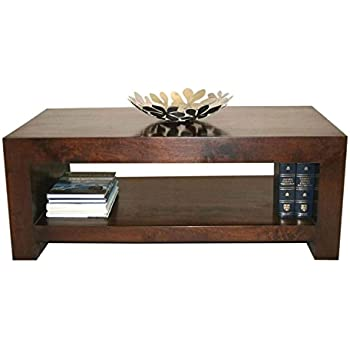 Homescapes Dakota Darkwood Rectangular Coffee Table With Storage Shelf 100 Solid Mango Hardwood Furniture For Living Room