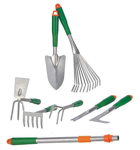 Bambelaa! Gartengeräte Gartenwerkzeug Set 8 TLG Blumenkelle Kleingeräte Gartenset Werkzeug Schaufel Rechen Harke Garten