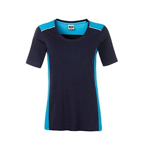 Ladies' Workwear T-Shirt-Level 2 in navy/turquoise Größe: M