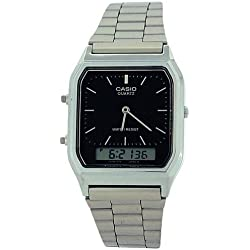 Casio AQ-230A-1DMQ – Reloj analógico y digital para hombre, correa de acero inoxidable