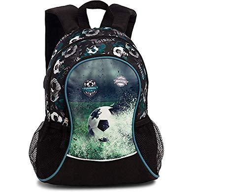 Fußball-mädchen-rucksack (Fussball Soccer Kindergartenrucksack Kinderrucksack für Jungen und Mädchen (20545) mit Hauptfach, Nebenfach und Getränkenetz, 35x28x10 cm, schwarz)