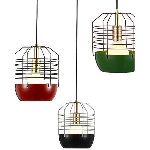 Mini ZSQ Telaraña artístico/lámpara colgante 1 luces/moderno Simplicidad/Acabado Negro/Blanco/Verde/rojo/acero al carbono , Droplight 220-240 v-rojo