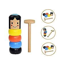 Wooden Doll, GHONLZIN 1 Set Magic Tricks Funny Toy Halloween Games Immortal Daruma for Kids
