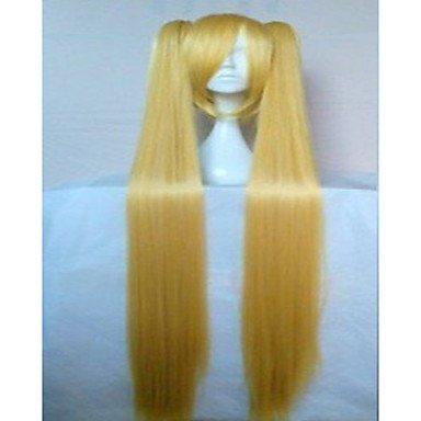 HJL-3 couleurs ¨¦l¨¦gante perruque cosplay 28 pouces bande dessin¨¦e de longue ligne droite cheveux synth¨¦tiques perruques anim¨¦ fille perruques , blonde