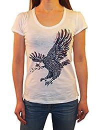 1stAmerican t-Shirt Donna Jersey Cotone Fiammato m/m Girocollo con Stampa