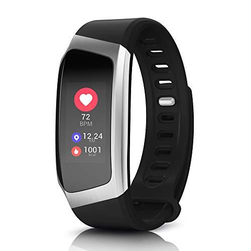 Yarrashop Fitness Tracker mit Pulsmesser Fitness Armbänder mit Schrittzähler,Schlafmonitor Touchscreen und Kalorienzähler/Vibrationsalarm Anruf SMS Whatsapp Für Android/iOS Telefon (Schwarz-1) Europa-telefon