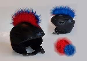 Casque irokese rouge-bleu compatible avec le casque de ski, snowboard, de casque de vélo ou moto-coole helmdeko/irokesenaufsatz-helmirokese iro punk