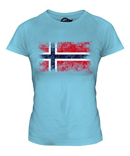 Candymix Norwegen Weinlese Flagge Damen T Shirt, Größe Medium, Farbe Himmelblau - Ringspun-fußball-t-shirt