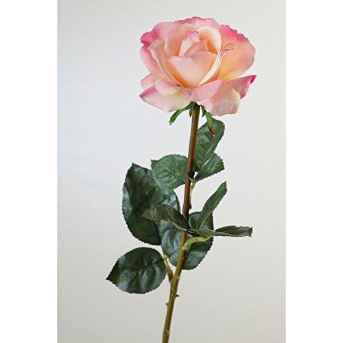 artplants Künstliche Rose Amelie, rosa, natürlich anfühlend, 70 cm, Ø 8 cm – Kunstblume Kunstrose