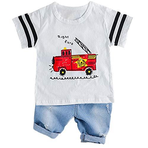 Kleinkind Feuerwehrauto Kostüm - Sunlera Baby-Jungen-Kleidung-Klagen Fire Truck-T-Shirt Shorts Kinder-Kind-Kostüm Sommer Kleinkind-Säuglingskleidung Set