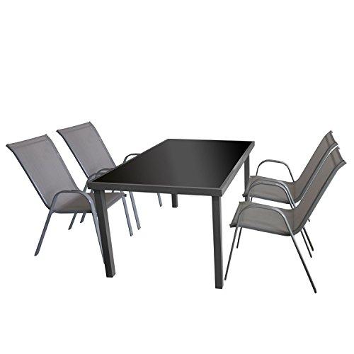 5tlg. Gartengarnitur Glastisch, Aluminiumrahmen grau, Tischglasplatte schwarz, 150x90cm + 4x Stapelstuhl, Textilenbespannung grau / Bistrogarnitur Gartenmöbel Set Sitzgruppe