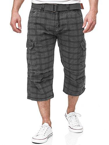 INDICODE Herren Nicolas Check 3/4 karierte Cargo Shorts inkl. Gürtel aus nachhaltiger Baumwolle Raven M