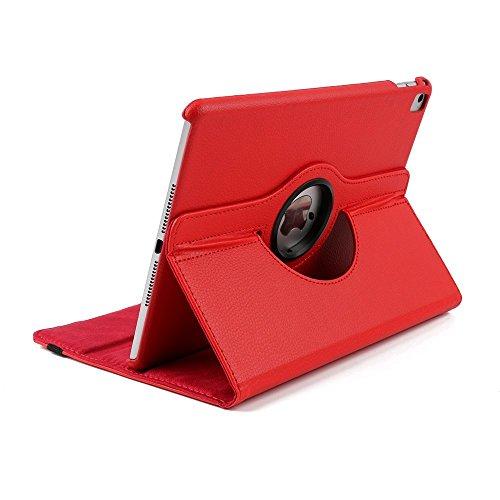 Preisvergleich Produktbild iPad Pro 12.9 Zoll Schutzhülle, elecfan® iPad Pro 12.9 Zoll 360 drehende Smart Hülle PU Leder Abdeckung Gehäusedeckel für Apple iPad Pro 12.9 Zoll (iPad Pro 12.9, Rot)