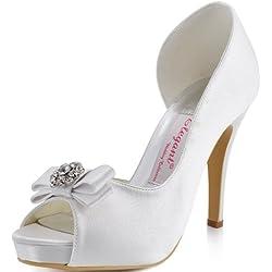 ElegantPark EP11045-IP Mujer Plataforma Peep Toe Tacón Aguja Arcos Satin Zapatos De Novia Blanco