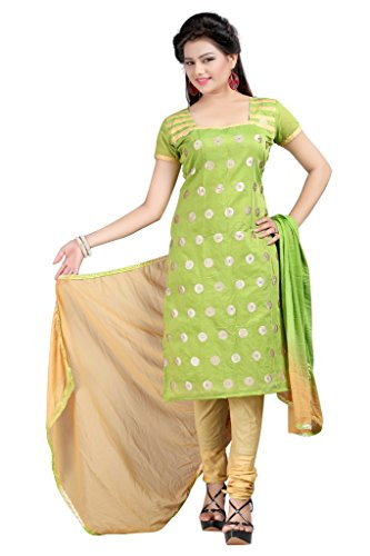 Dress (Sai Fab Women\'s Cotton Green Embroidered Work Un-stitched Dress Material)