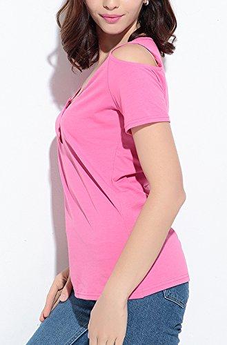 Damen T-Shirts Blusen Oberteile Kurzarm U Ausschnitt Mit Schulter-Öffnungen Schlank Dünn Baggy Volltonfarbe Sommer Lässig Pink