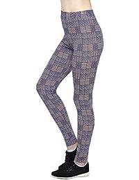 AREO Women's Lycra Spandex Elasticized Fabric Leggings (Skin with Blue Checks, One Size)