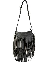 styleBREAKER Umhängetasche mit langen Fransen im coolen Ethno Style, Schultertasche, Tasche, Damen 02012113