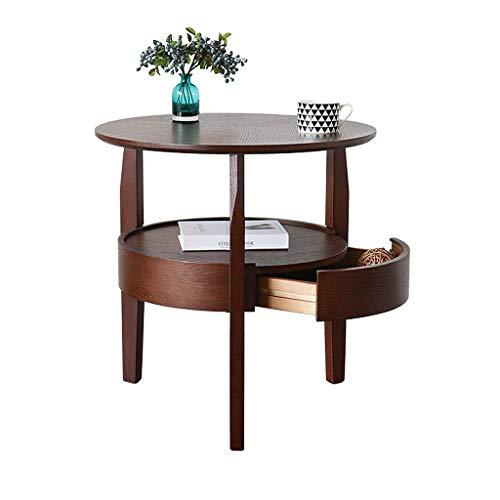 Runder Couchtisch aus Eiche mit Schublade, 2-Ebenen-Sofa-Ecktisch für Wohnzimmer, kreative Einfachheit Walnuss-Farbkleine Tabelle für kleinen Raum (größe : 58cm) - 2 Schublade Eiche Couchtisch