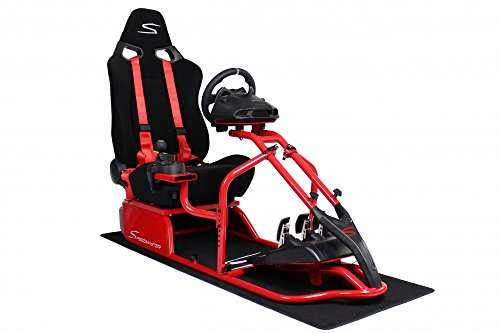 Speedmaster S Rennsitz Rot - Short Floss Fabric Schwarz - Gameseat - Simracing