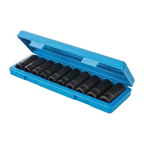 """Silverline 586290 Vasos de Impacto Hexagonales Largos Métricos de 1/2\"""", 10-22 mm Rango/Capacidad, Caja de 10"""