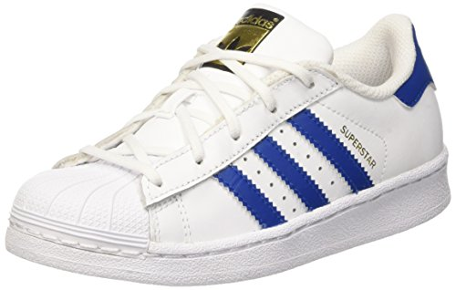 adidas Unisex-Kinder Superstar Foundation Basketballschuhe, Weiß (Ftwwht/Blue/Ftwwht), 30 EU