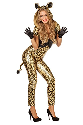 ,Karneval Klamotten' Kostüm Sexy Panther gold Karneval Tiger Damenkostüm Größe 40 (Panther Kostüm Ohren)