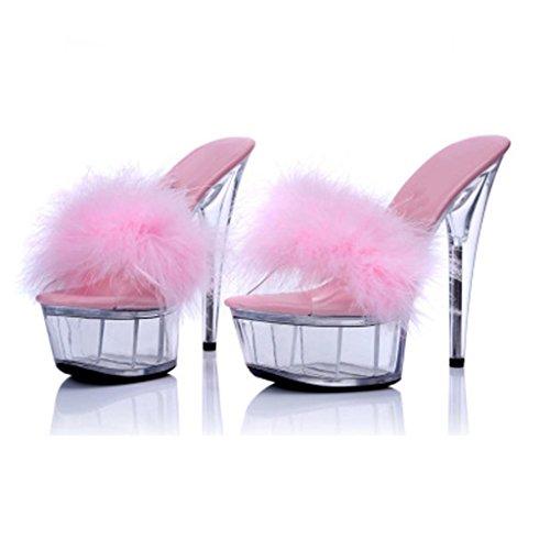 W&LMciabatte infradito Trasparente Spessore inferiore Piattaforma impermeabile Tacchi alti sandali Fine con sandali Scarpe Scarpe modello Pink