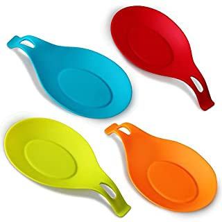 Annstory Spoon Rests, Kitchen Silicone Spoon Holders, Set of 4, Colourful, Big Size