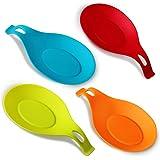 Annstory souple en forme d'amande Silicone Spoon Rest - 4-pack (Colorful, Big Size)