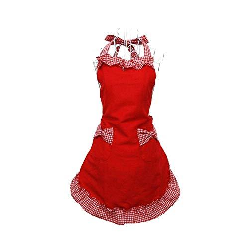 HANERDUN Kochschürze Frauen Damen Schürze Küchenschürze Rot Reizend Sexy Erotisch Verstellbar Petticoat mit zwei Taschen Bowknot Schleife für Kochen Backen Grillen Geschenk Idee