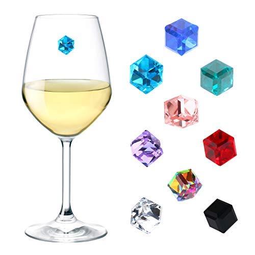 Weinglas-Charms Kristall-Set 9 Stück magnetische Weinglas-Charms für Stiellose Gläser, Glaskennzeichen, Getränke-Marker, Weinglas-Marker, magnetisch - Geschenkbox von Simply Charmed