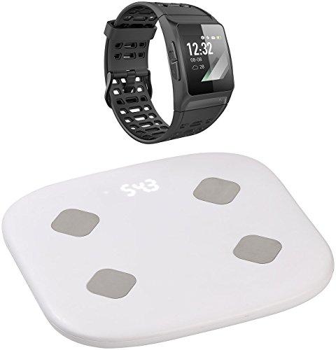 Newgen Medicals GPS Uhr: Fitness-Sportuhr mit GPS, Puls & WLAN-Personenwaage mit Körperanalyse (Sport-GPS-Smartwatch)