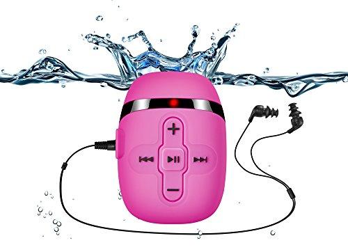 Sigomatech 8GB de natación reproductor de mp3 con auriculares de cable corto (3 tipo swimbuds), un cable de extensión más de audio para el tipo de deportes, Shuffle característica