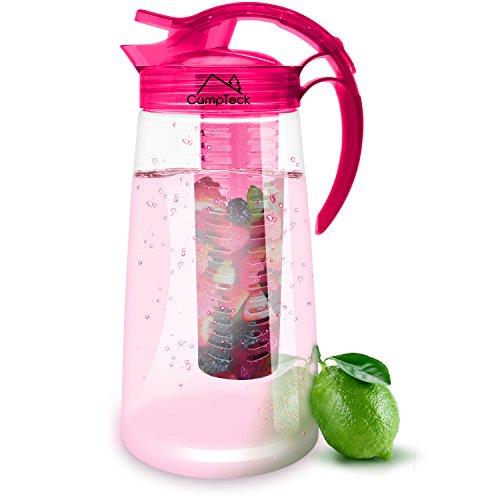 CampTeck-2-Liter-2000ml-Fruchtschorlen-Kanne-Karaffe-Infuser-BPA-freier-Tritan-Kunststoff-mit-Auslaufsicheren-Luftdichtem-Deckel-Verschluss-Henkel-Pink