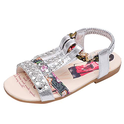 Fenverk Kinderschuhe MäDchen Sandalen Kindersandale Geschlossene Leder Innensohle Sandale Sommer Sandaletten Lauflernschuhe Schuhe(Silber,26) - 13 Größe Mädchen Cowgirl-stiefel
