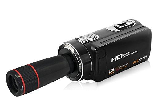 seree HDV Z8Start lato Camcorder 1080P Full HD portatile Camera 16x Zoom digitale sostegno teleweit angolo 12x telescopio obiettivo per max 24MP sostegno Face Detection