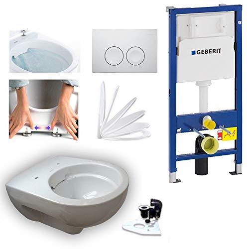 Geberit Duofix Vorwandelement mit Delta 21, Keramag Renova Nr. 1, rimfree, Spülrandlos, Tiefspül-WC, inkl. Sitz und Beschichtung - 2
