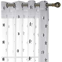 Deconovo Visillos para Ventanas Efecto Lino Cortina Traslúcida Voile para Dormitorio Salón Balcón 2 Paneles 140 x 175 cm Blanco Diseño Estrella
