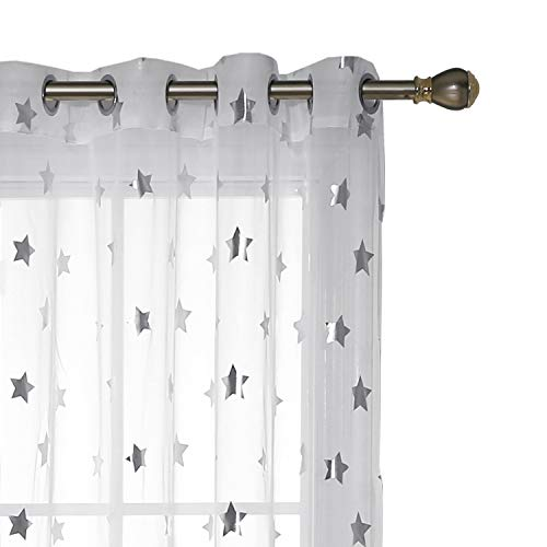 Deconovo Vorhang Ösenschal Transparent Voile Gardinen Kinderzimmer 175x140 cm Weiß Großes Stern 2er Set, Stoff, 175x140