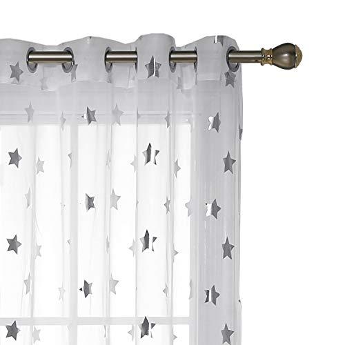 �nge Ösen Transparent Gardinen Ösen Vorhänge Kinderzimmer 245x140 cm Weiß Großes Stern 2er Set ()