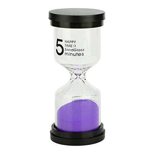 Multicolor Sablier - Coloré Sablier Sable Horloge Minuteur Outil de 5 minutes pour les enfants et la maison, 10,2 x 4,4 cm. Black + Purple