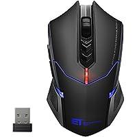VicTsing Mouse Gaming Wireless Mouse da Gioco Silenzioso, 7 Pulsanti Tranquilli, per Gamer/Ufficio/Casa, Nero