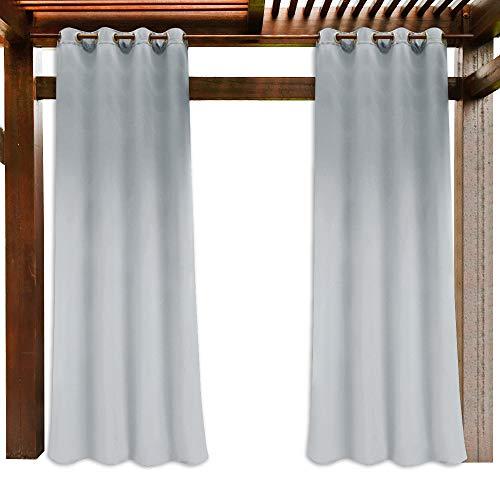 PONY DANCE Outdoor Vorhang Wasserabweisend - Outdoorvorhänge Sonnenschutz & Sichtschutz Gardinen für Balkon und Garten Ösenschal Gardine, Grau-weiß, 1er Set H 213 x B 132 cm