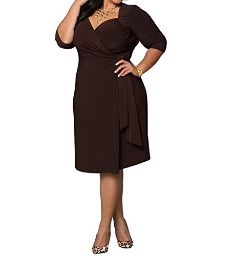 Crazycatz@Damen plus Größe V-Ausschnitt mit Rüschen besetzte Bust halbe Hülsen Abend Partei Kleid Kaffee