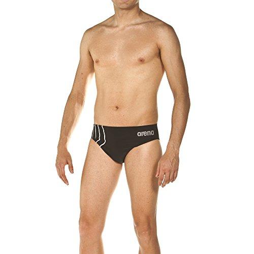 arena Herren Sport Badehose Slip Reflected (Schnelltrocknend, UV-Schutz, Kordelzug, Chlor-/Salzwasserbeständig), Black-White (501), 5