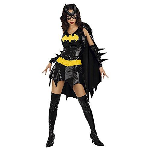 Batgirl Damen Kostüm für Erwachsene Superheld Outfit - Schwarz, XS - 34/36 ()