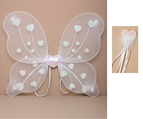 ß Glitzer Herz Fairy Wing und weiß Band Zauberstab (Herz Style) – Fancy Kleid, Halloween, Geburtstag, Prinzessin Outfit, Princess Dressing Up Set (Angel Halloween-outfits)