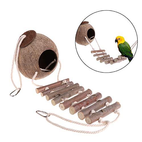 XIYAO Bird House mit Strichleiter, natürlichem Kokosnuss-Verschachtelungshaus oder Vogelzufuhrvogel und Kleintierspielzeug